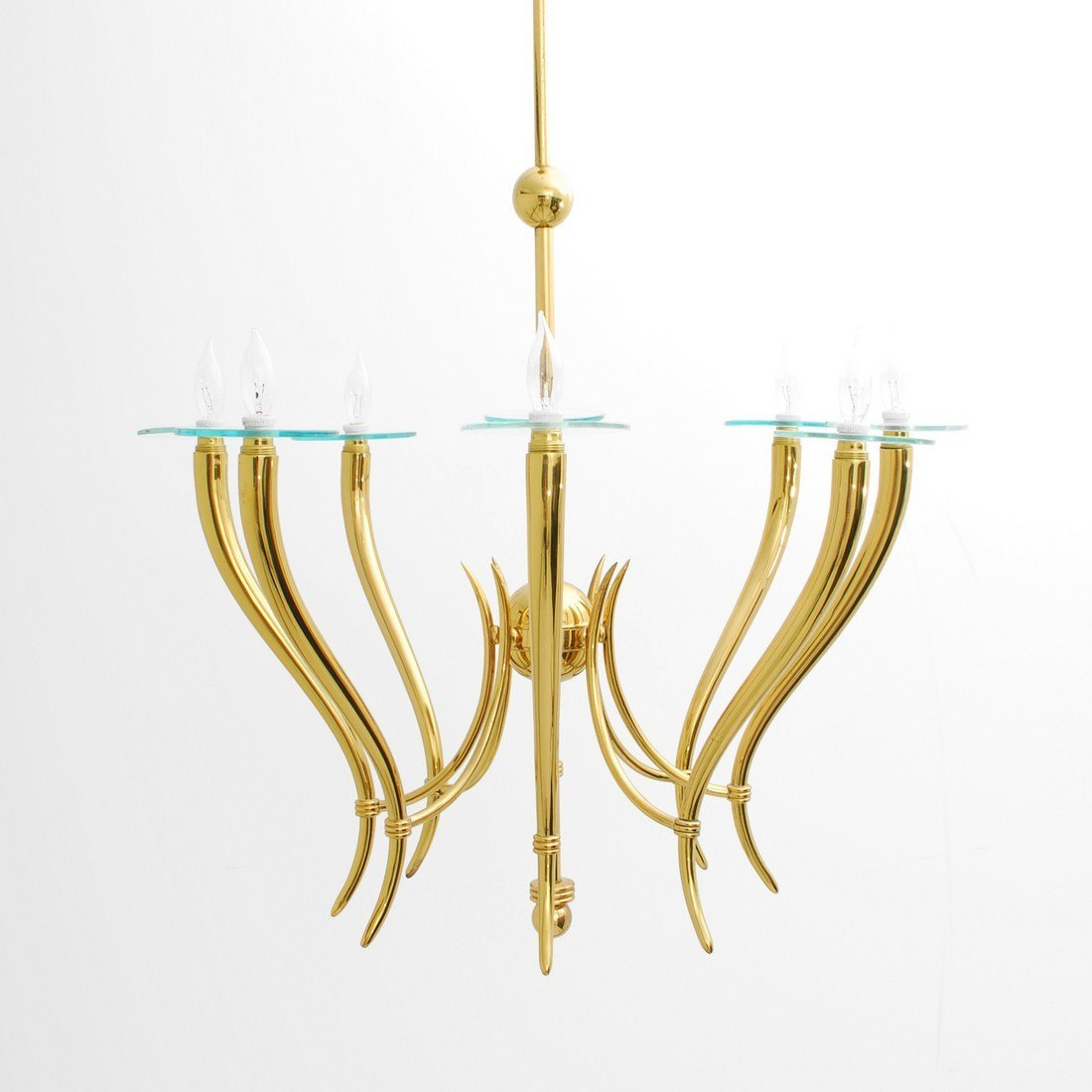 Large Brass & Glass Chandelier, Gio Ponti