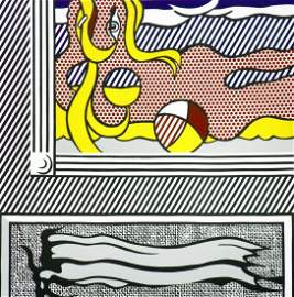 "Large Roy Lichtenstein ""2 Paintings: Beach Ball"" Lithog"