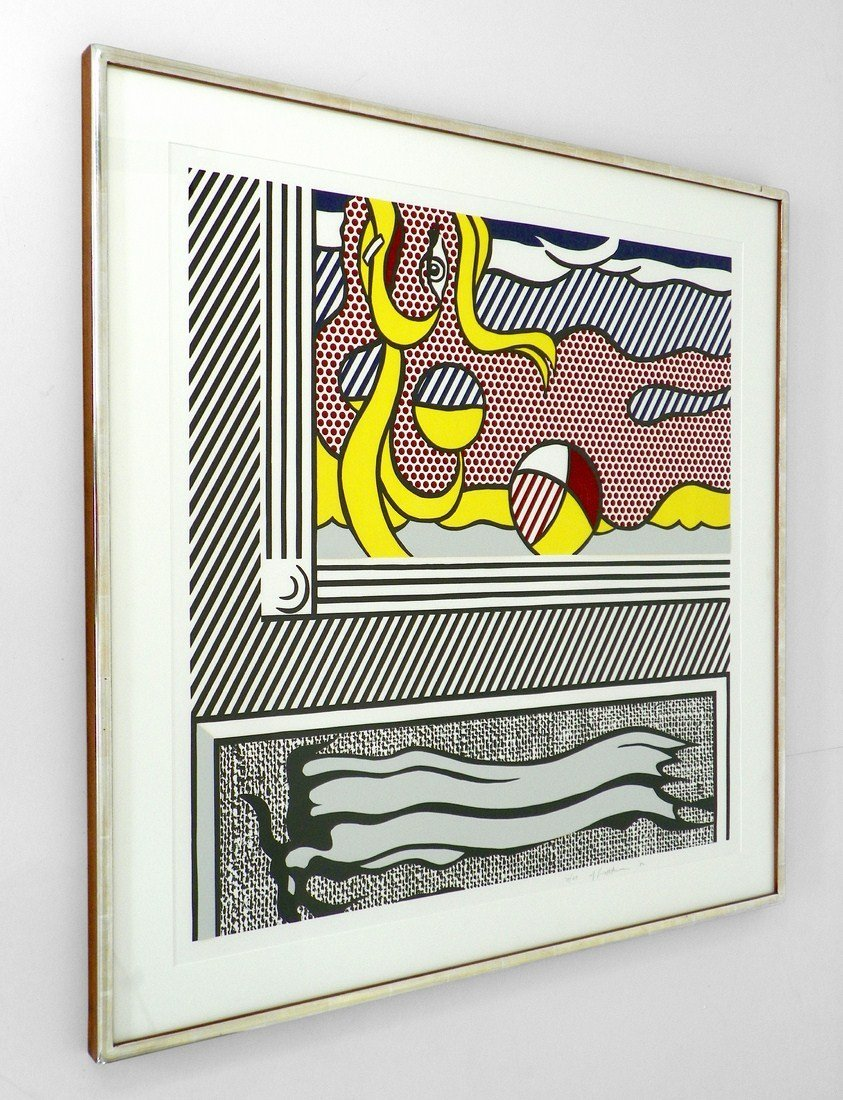 "Large Roy Lichtenstein ""2 Paintings: Beach Ball"" Lithog - 3"