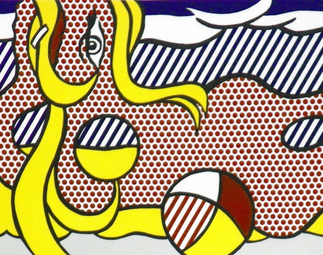 "Large Roy Lichtenstein ""2 Paintings: Beach Ball"" Lithog - 5"
