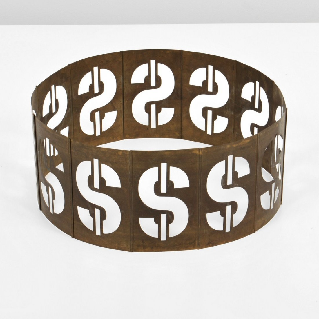 319: Signed Andy Warhol Dollar Sign Metal Sculpture