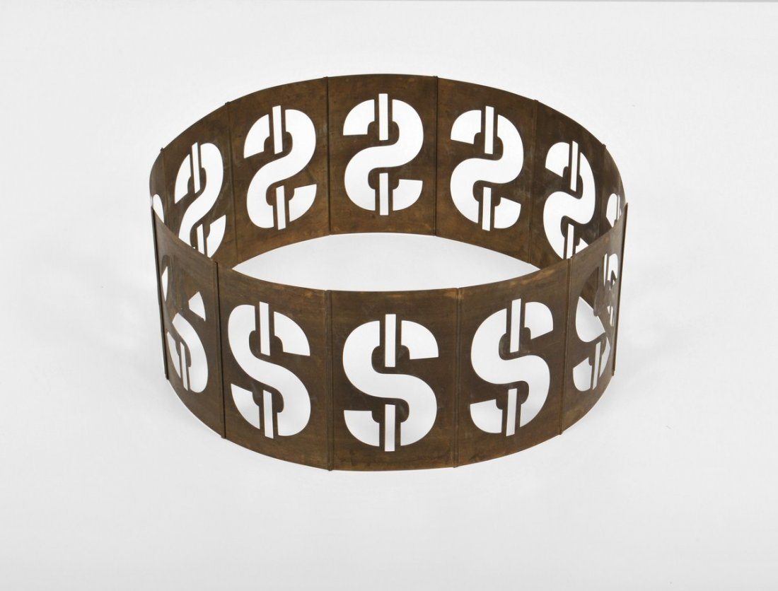 319: Signed Andy Warhol Dollar Sign Metal Sculpture - 3