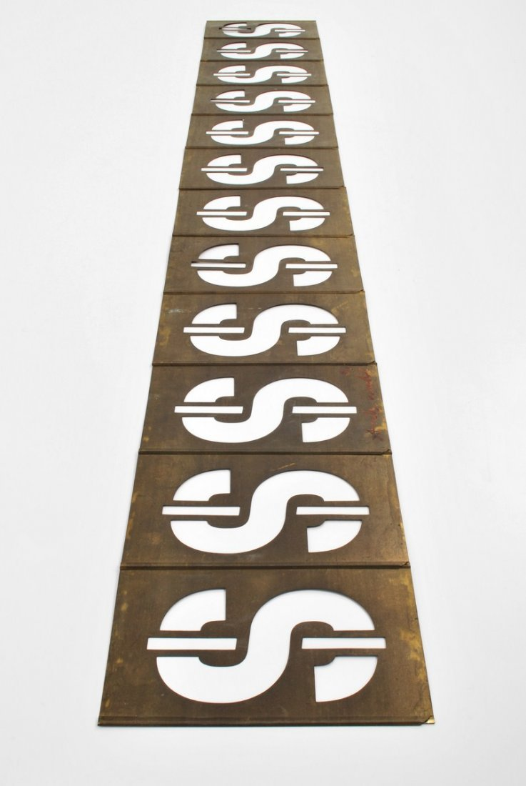 319: Signed Andy Warhol Dollar Sign Metal Sculpture - 4