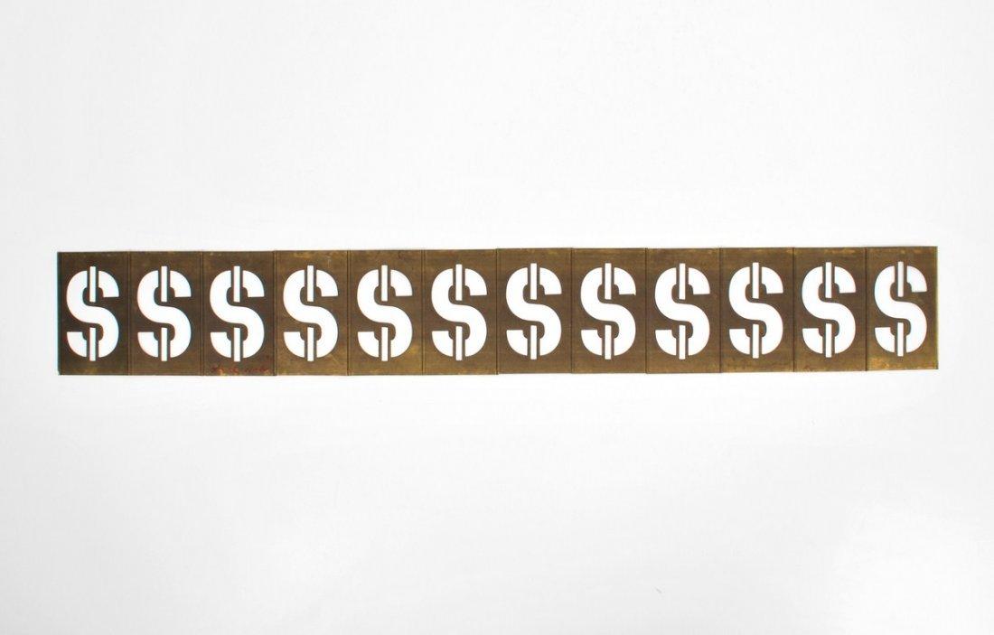 319: Signed Andy Warhol Dollar Sign Metal Sculpture - 5