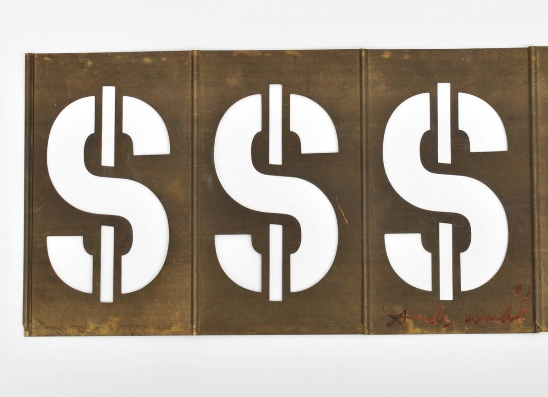 319: Signed Andy Warhol Dollar Sign Metal Sculpture - 6