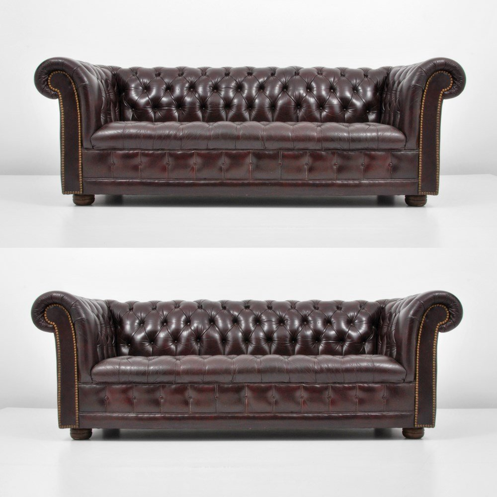 """Pair Of """"Chesterfield"""" Leather Sofas"""