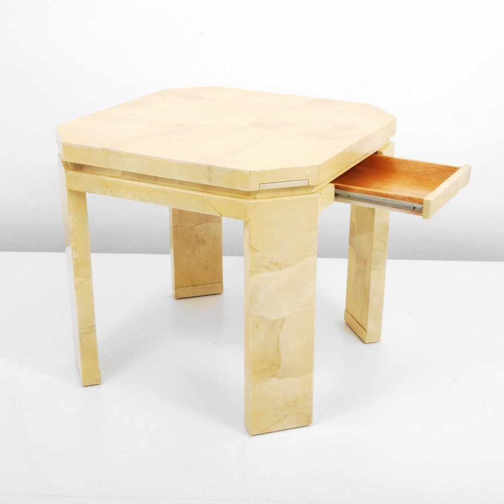 Lacquered Goatskin Game Table, Manner of Karl Springer