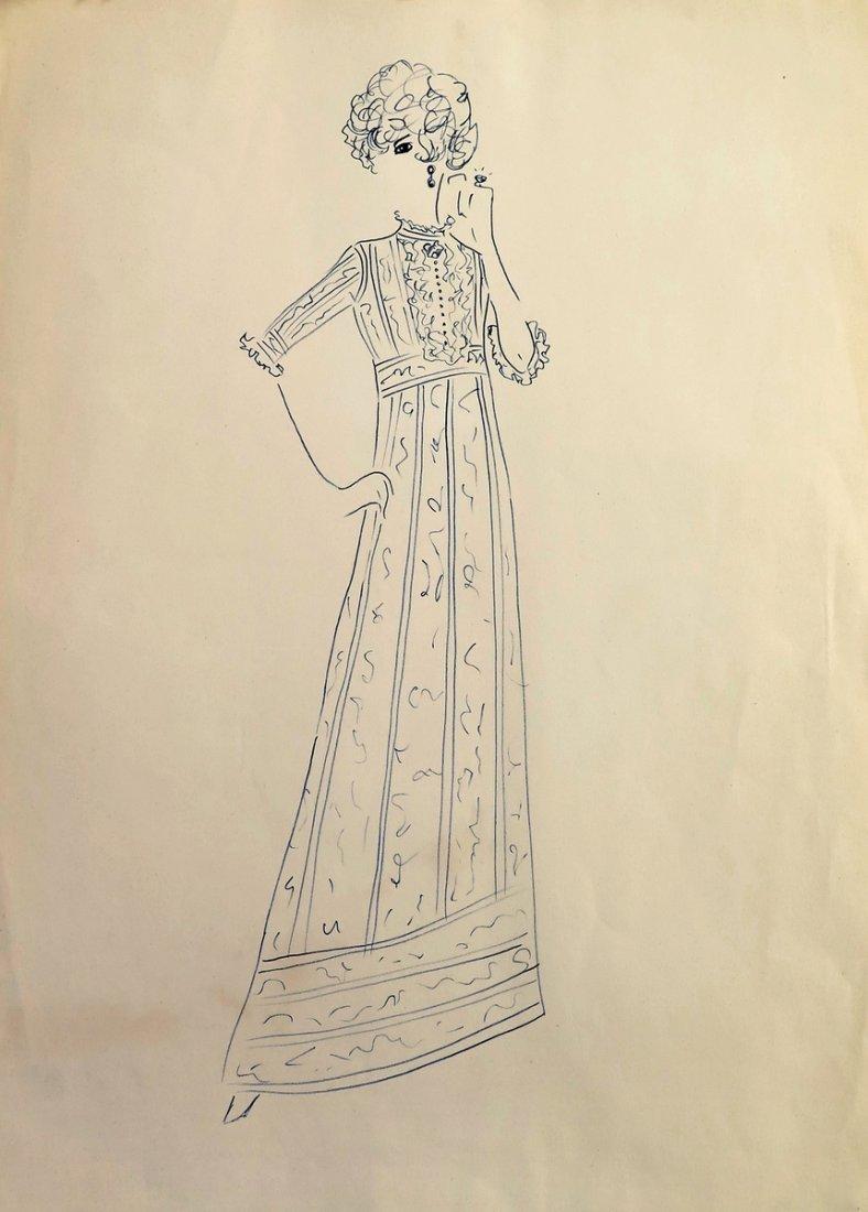 Original Fashion Drawing; Tiziani + Lagerfeld + Liz