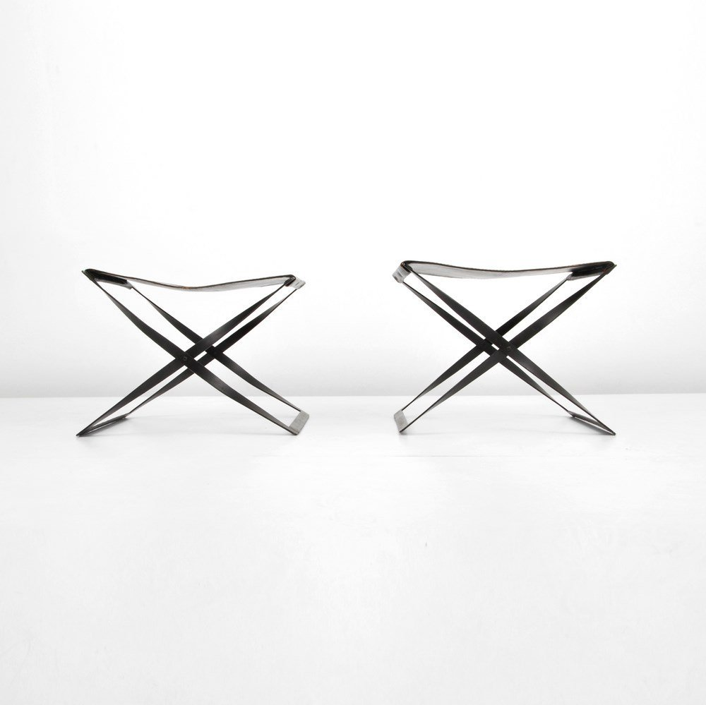 Pair of Folding Leather Stools,Manner of Poul Kjaerholm