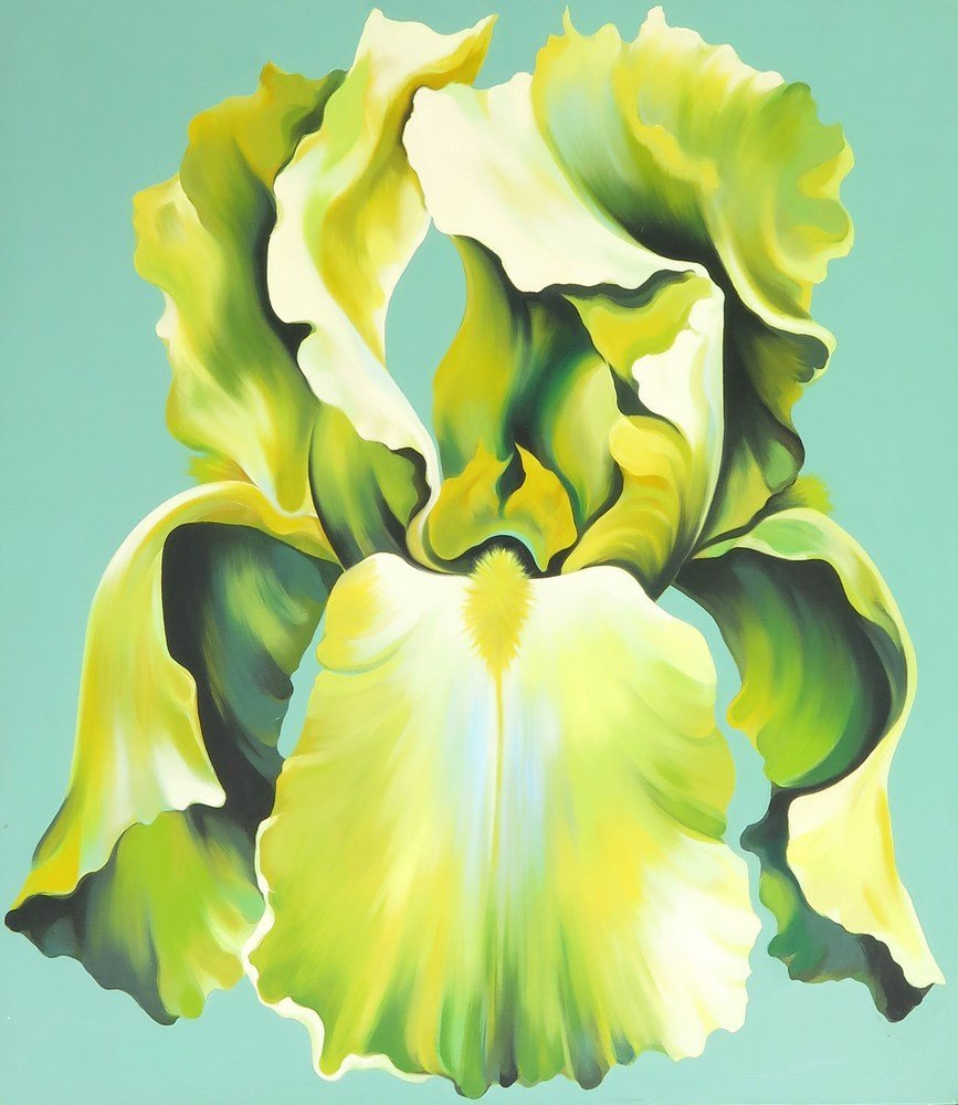 "Lowell Nesbitt ""Green Iris"" Painting, Original Work"