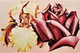 Large Lowell Nesbitt 'Iris & Rose' Painting