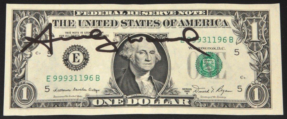 One Dollar Bill, Signed Andy Warhol