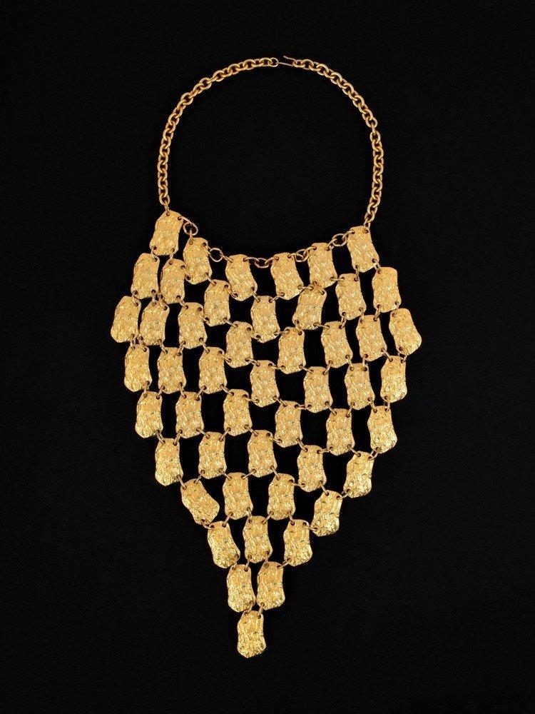 Pauline Trigère Gold Tone Bib Necklace