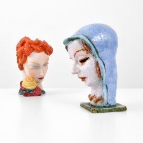 Two Large Pottery Head Sculptures