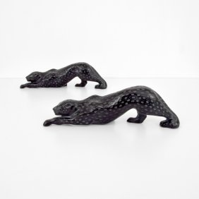 Pair Of Lalique Zeila Black Panthers