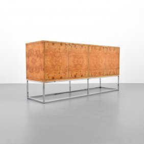 Burl Wood Cabinet, Manner Of Milo Baughman
