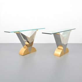 Pair Of Console Tables, Manner Of Karl Springer