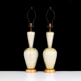 Pair Of Barovier & Toso Lamps, Murano