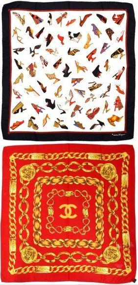 Chanel & Salvatore Ferragamo Silk Scarfs