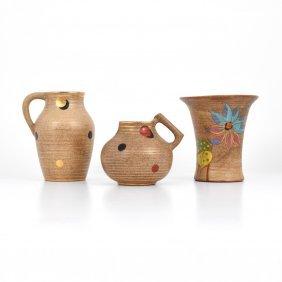 Clarice Cliff Goldstone Vases/vessels, Lot Of 3
