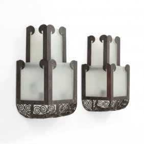 Pair Of Large Art Deco Sconces, Manner Of Oscar Bach