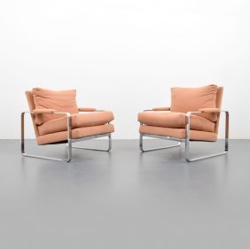 Pair Of Lounge Chairs, Manner Of Milo Baughman
