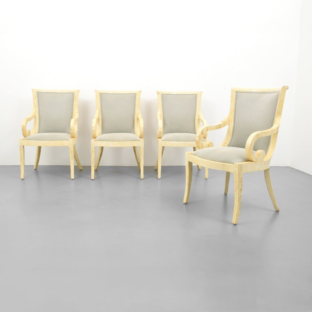 Set of 4 Arm Chairs, Manner of Karl Springer