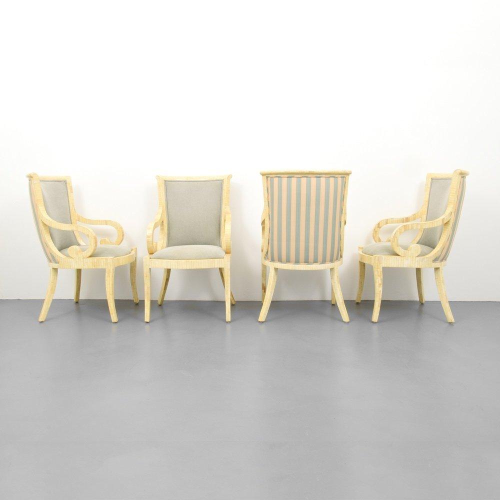 Set of 4 Arm Chairs, Manner of Karl Springer - 5