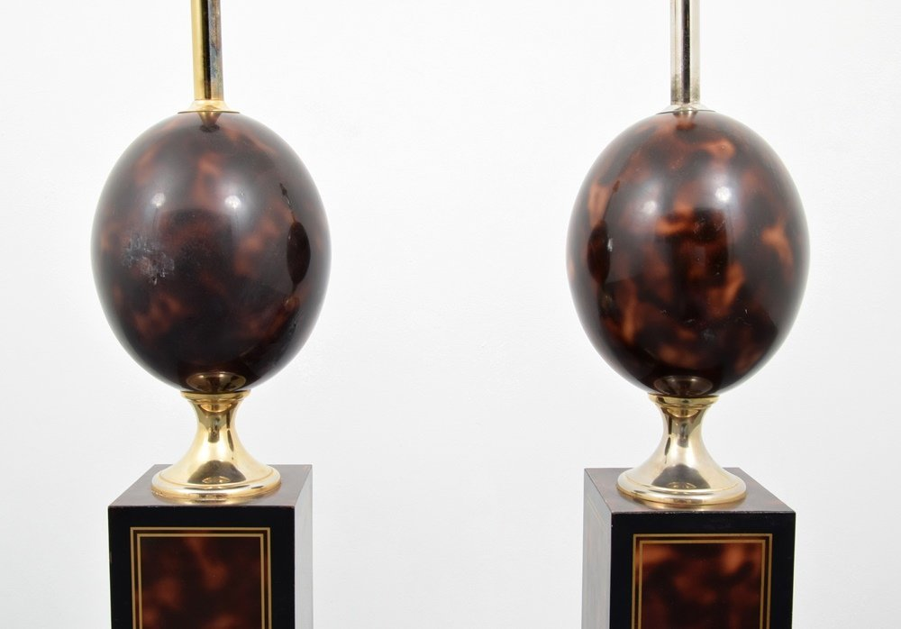 Pair of Philippe Barbier Faux Tortoise Floor Lamps - 2