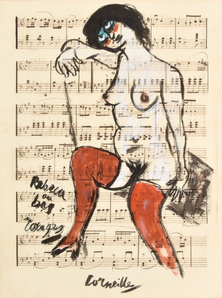 Guillaume Corneille Gouache on Sheet Music