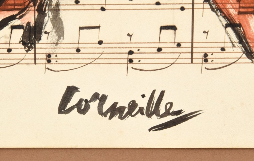 Guillaume Corneille Gouache on Sheet Music - 4