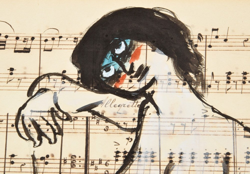 Guillaume Corneille Gouache on Sheet Music - 5
