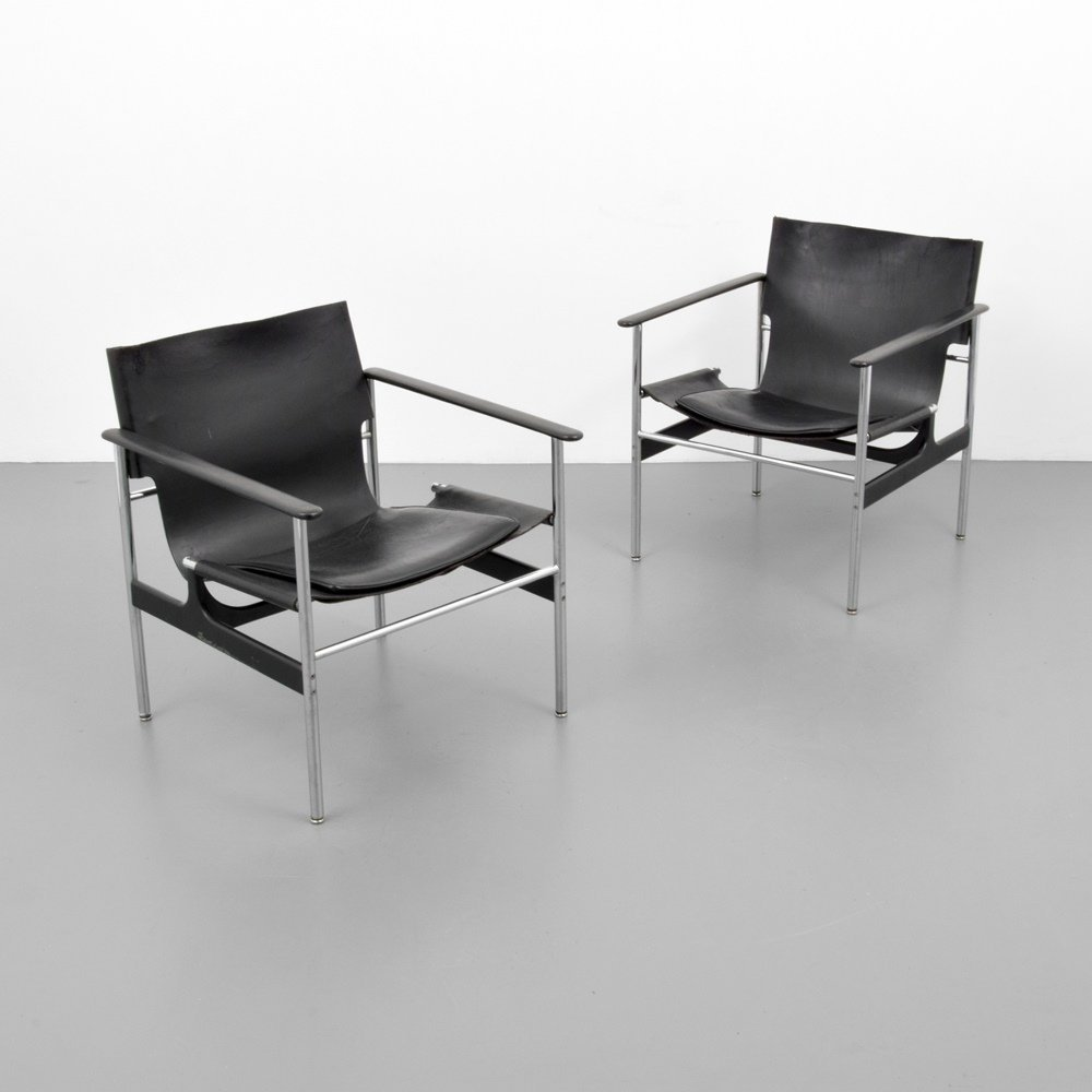 Pair of Charles Pollock SLING Lounge Chairs