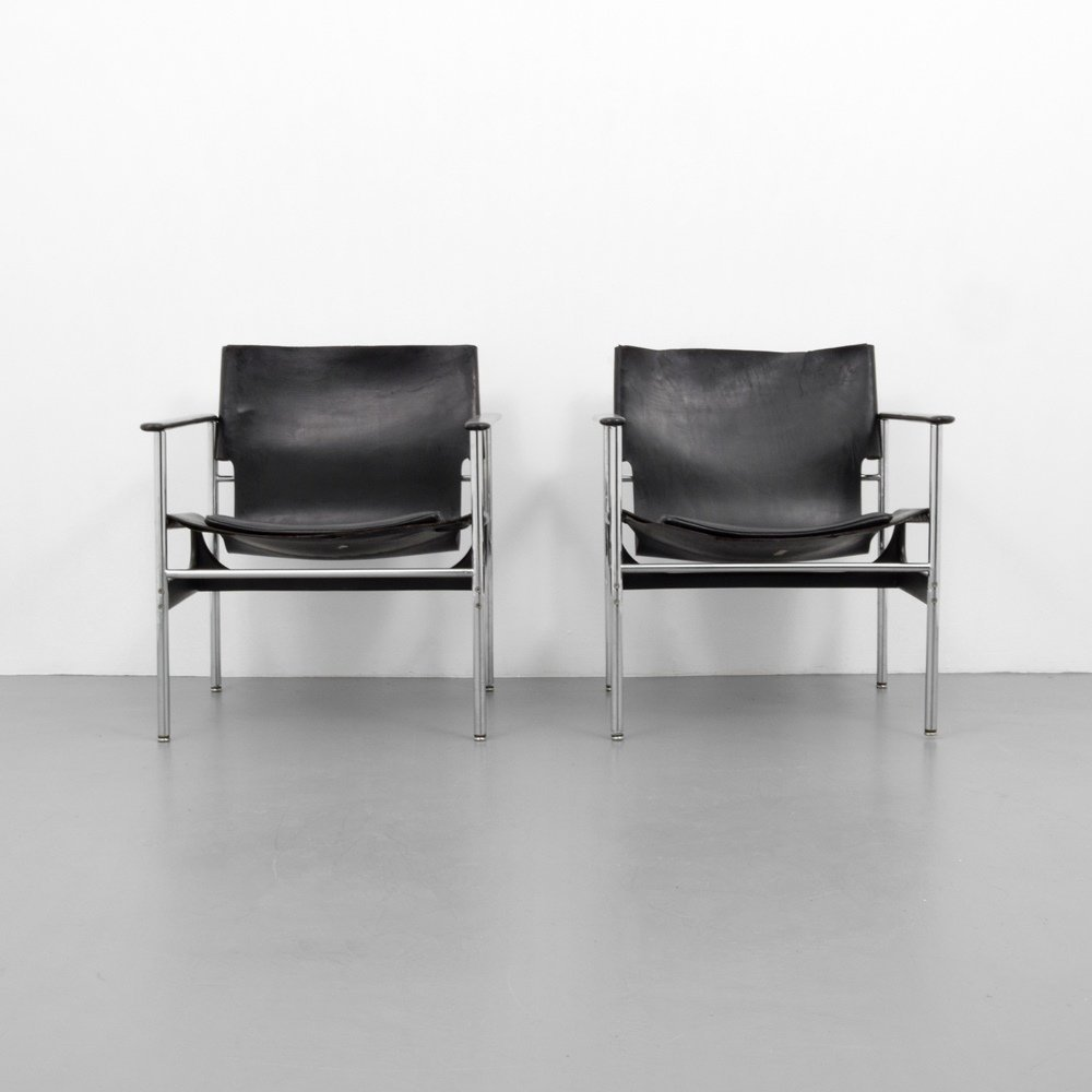 Pair of Charles Pollock SLING Lounge Chairs - 4