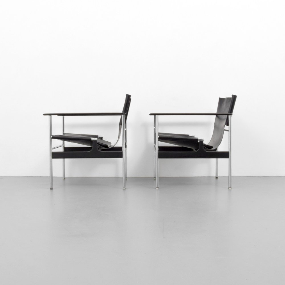 Pair of Charles Pollock SLING Lounge Chairs - 5