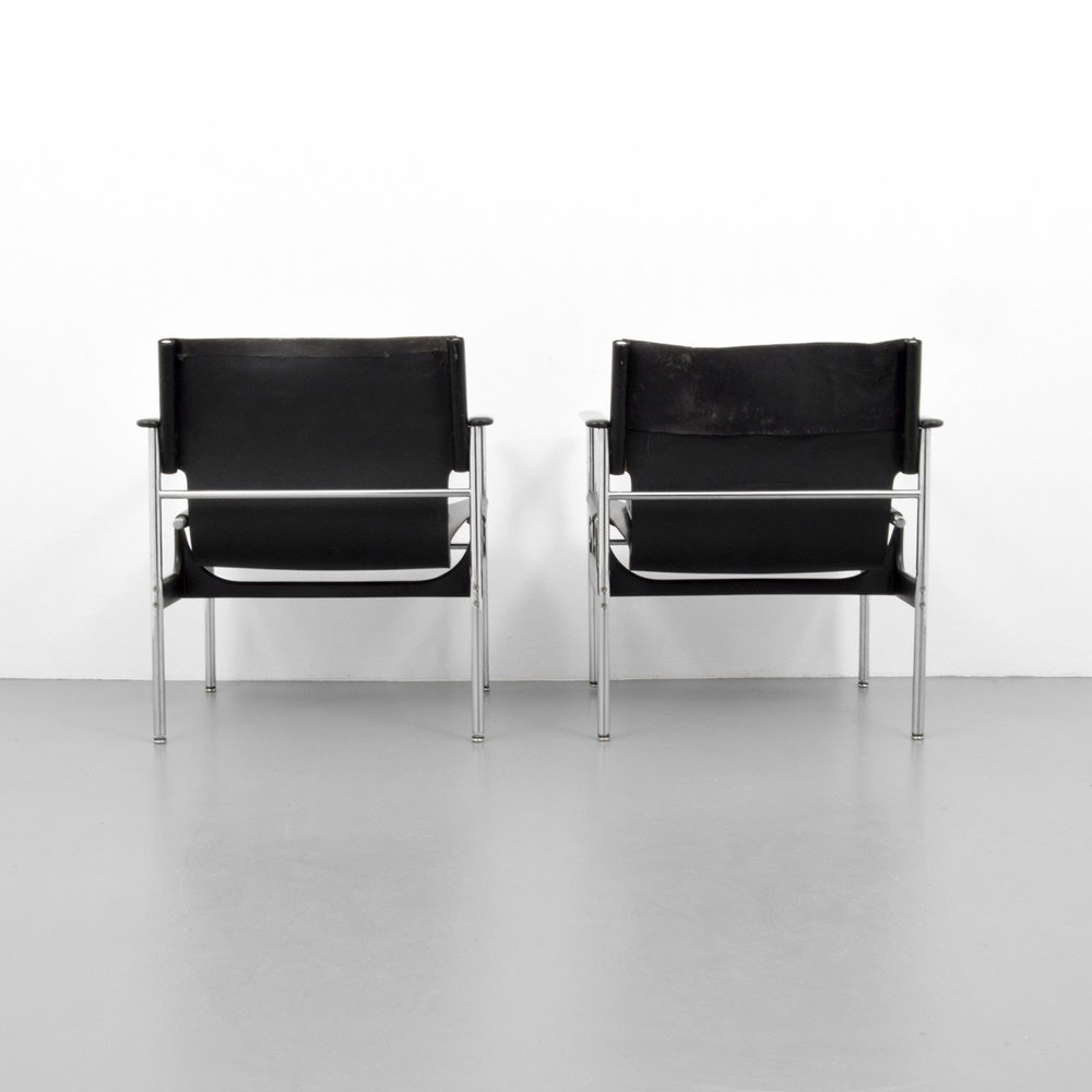 Pair of Charles Pollock SLING Lounge Chairs - 7