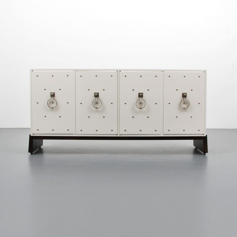 Tommi Parzinger Silver Studded Cabinet