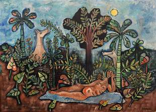 Mario Carreno Mixed Media Painting, Original Work