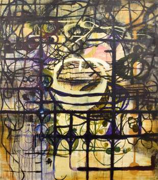 Large Willy Heeks Abstract Painting, Original Work