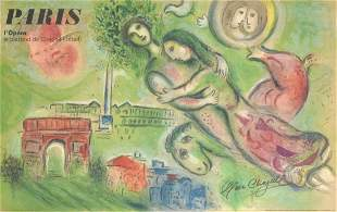 Marc Chagall (after) PARIS L'OPERA Lithograph, Signed