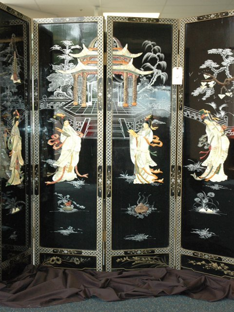 13: Japanese Four Panel  Black Lacquer Screen C. 1900s