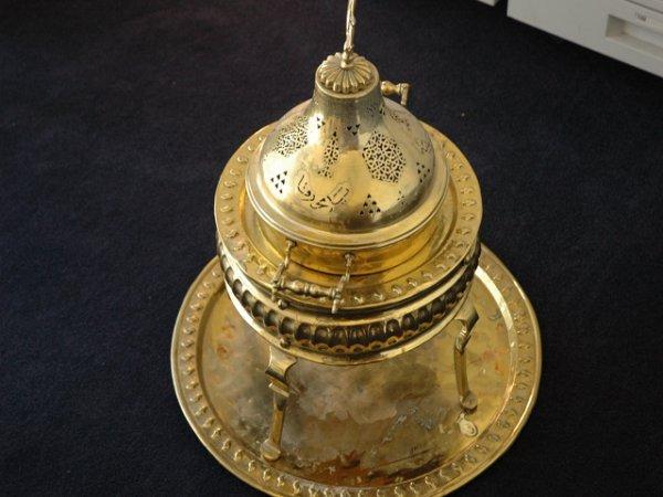 14: Antique Brass Food Warmer