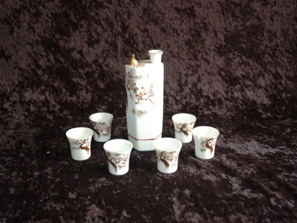 24: Ivory and Lithophane Asian Sake Set