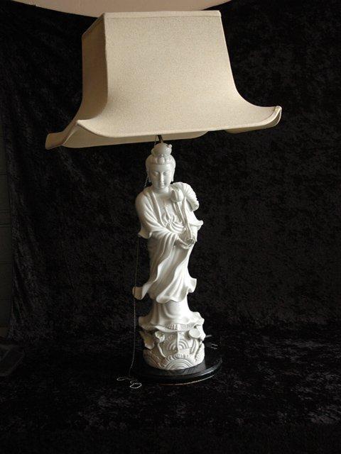 170: Chinese Blanc De Chine Quan Yin Lamps, Pair