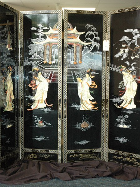 11: Japanese Four Panel  Black Lacquer Screen C 1900s