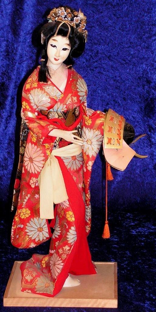 6: Japanese Geisha Girl  Doll Figurine in Silk Kimono