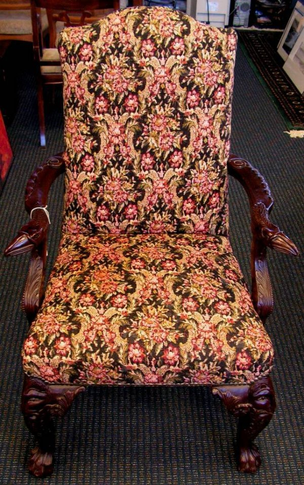 9: Vintage Mahogany Chair with  Hand Carved Snake Arms