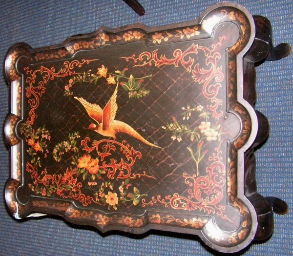 13: Asian Japanese Lacquer Crackle Table Inlaid Art