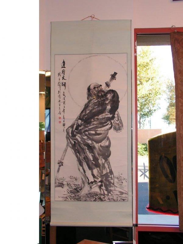 21: Large Japanese Samurai Tapestry Painting