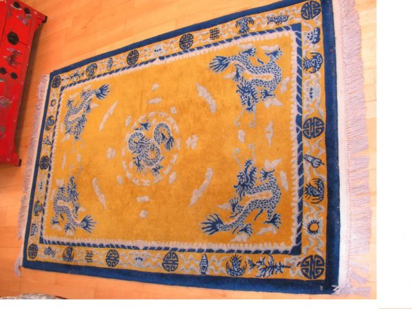 22: Vintage Asian Wool Rug with Blue Gold Dragons